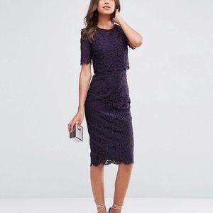 💜 ASOS Tall Purple Lace Crop MIDI Pencil Skirt